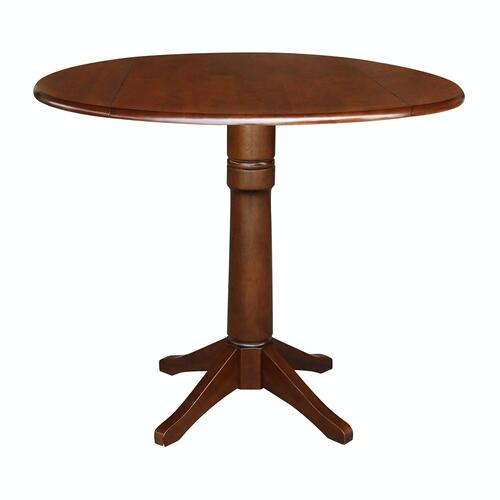 John Thomas Furniture - Round Dropleaf Pedestal Table in Espresso