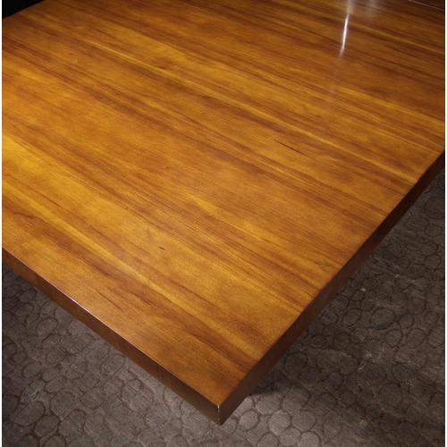 Milan Satin Walnut Dining Table With Metal Base