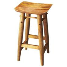 See Details - The solid mango wood Lotus bar stool makes a sturdy place to sit down and have a drink. The smooth surfaces are finished with a natural Artifacts finish giving this piece an at home, country feel.