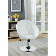 Contemporary White Faux Leather Swivel Accent Chair Product Image