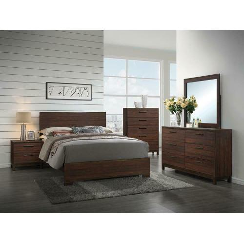 Edmonton Transitional Rustic Tobacco Queen Bed