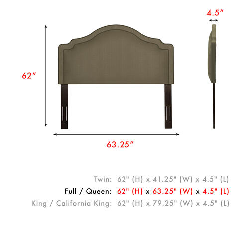 Gallery - Versailles Upholstered Headboard with Adjustable Height and Nailhead Trim, Brown Sugar Finish, Full / Queen