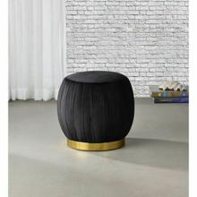 ACME Zinnia Ottoman - 96449 - Contemporary - Fabric (Velvet), Wood, Metal Leg - Black Velvet and Gold