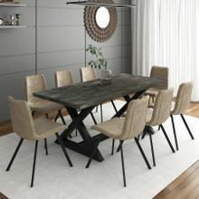 See Details - Zax/Buren 9pc Dining Set, Black/Vintage Brown