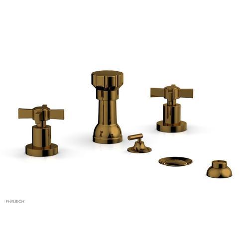 BASIC Four Hole Bidet Set - Blade Cross Handles D4137 - French Brass