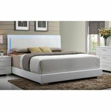 ACME Lorimar Eastern King Bed (HB w/LED) - 22637EK - White PU & Chrome Leg