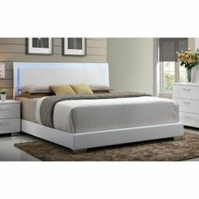 ACME Lorimar Eastern King Bed (HB w/LED) - 22637EK - White PU & Chrome Leg