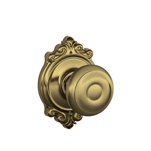Georgian Knob with Brookshire trim Hall & Closet Lock - Antique Brass