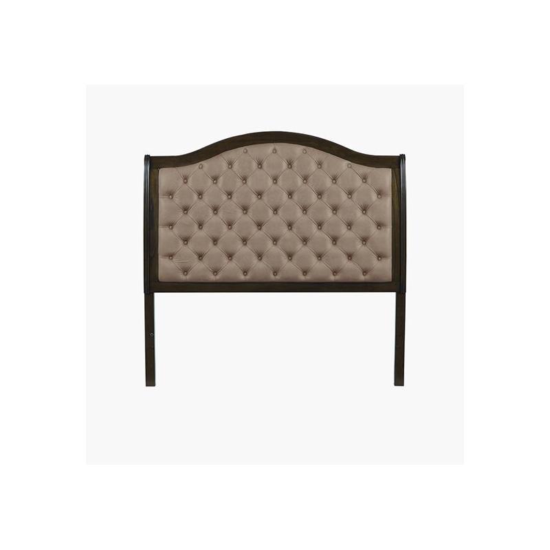 Queen Upholstered Headboard - Aged Oak Finish