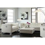 Chaviano Contemporary White Two-piece Living Room Set Product Image