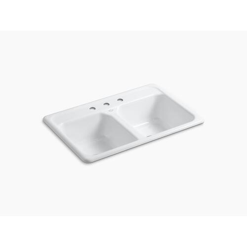 """Black Black 33"""" X 22"""" X 8-1/2"""" Top-mount Double-equal Kitchen Sink With 3 Faucet Holes"""