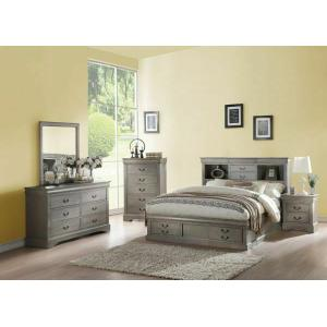 ACME Louis Philippe III Queen Bed w/Storage - 24360Q - Antique Gray