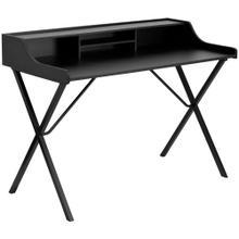 See Details - Black Computer Desk with Top Shelf