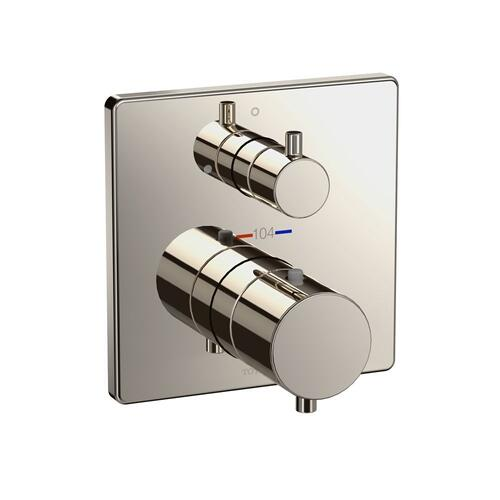 Thermostatic Mixing Valve with Volume Control Trim - Square - Polished Nickel
