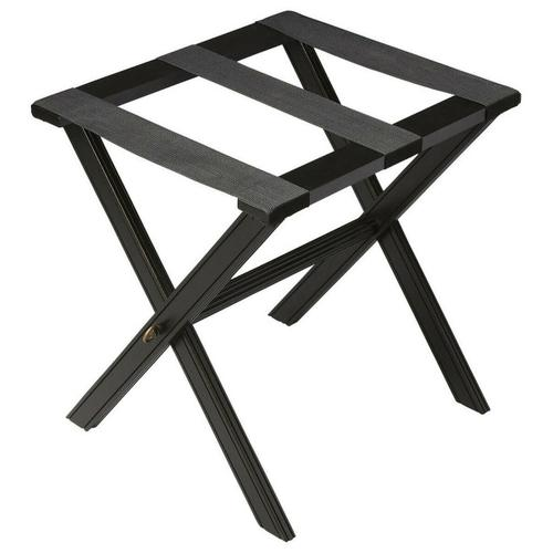 Butler Specialty Company - Perfect for any bedroom or walk-in closet, this luggage rack is ready when needed. The black licorice finished solid wood frame features elegant carving on the stretcher base and legs with three heavy duty cloth straps. Folds away for convenient storage.
