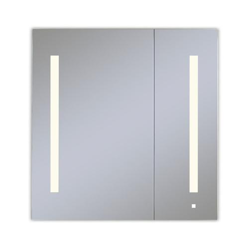 """Aio 29-1/4"""" X 30"""" X 4"""" Dual Door Lighted Cabinet With Large Door At Left With Lum LED Lighting In Soft White (2700k), Dimmable, Built-in Om Audio, Interior Lighting, Electrical Outlet, Usb Charging Ports and Magnetic Storage Strip"""