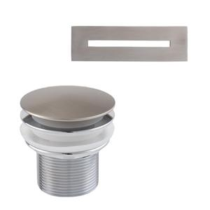 """Nickelby 68"""" Acrylic Double Slipper Tub with Integral Drain and Overflow - Brushed Nickel Product Image"""