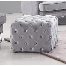 Divani Casa Stephen Transitional Grey Velvet Tufted Ottoman