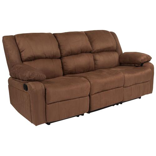 Chocolate Brown Microfiber Sofa with Two Built-In Recliners
