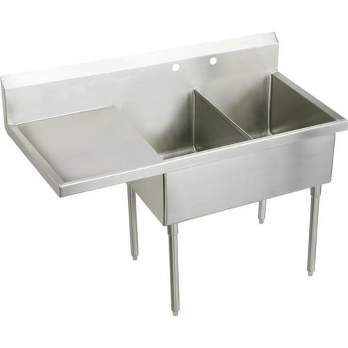 """Elkay Weldbilt Stainless Steel 85-1/2"""" x 27-1/2"""" x 14"""" Floor Mount, Double Compartment Scullery Sink with Drainboard"""