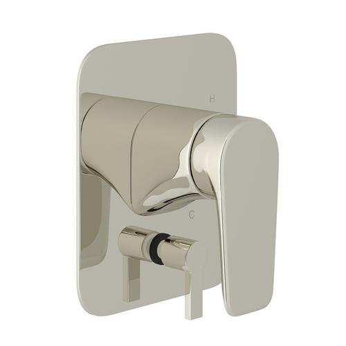 Polished Nickel Perrin & Rowe Hoxton Pressure Balance Trim With Diverter with Hoxton Metal Lever