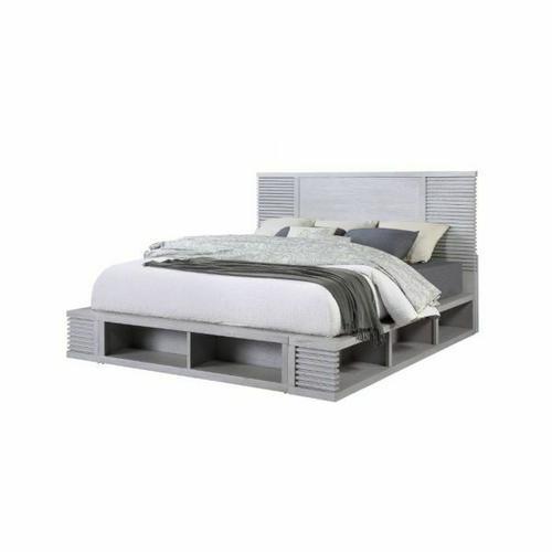 ACME Aromas Queen Bed (Storage) - 28110Q - Coastal - Wood (Poplar), Wood Veneer (Oak), MDF, Ply, PB - White Oak