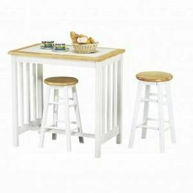 ACME Metro 3Pc Pack Breakfast Set - 02140NW - Natural & White Tile Top