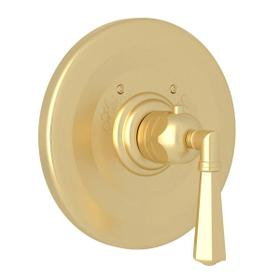 Palladian Thermostatic Trim Plate without Volume Control - Satin Unlacquered Brass with Metal Lever Handle