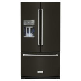 26.8 cu. ft. 36-Inch Width Standard Depth French Door Refrigerator with Exterior Ice and Water and PrintShield Finish Black Stainless Steel with PrintShield™ Finish