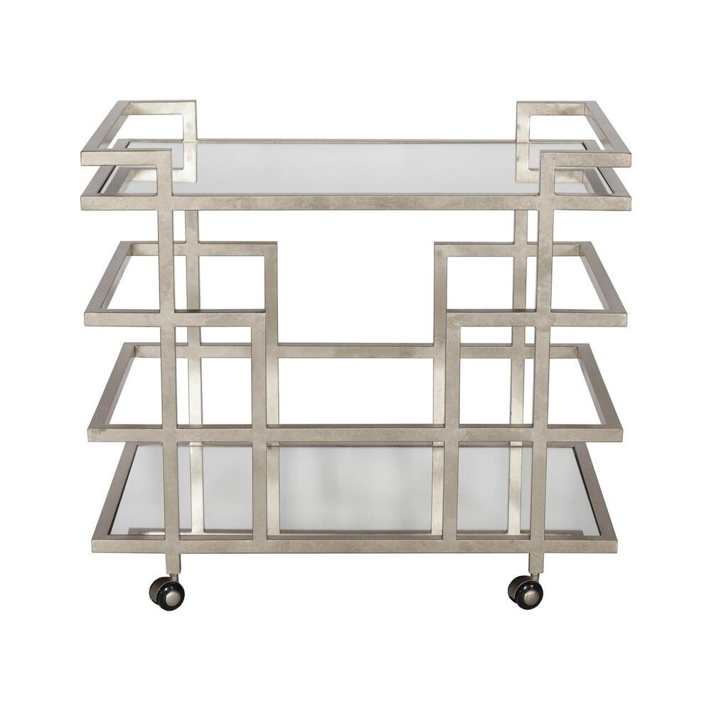 Simple Yet Sophisticated, Our Ireland Bar Cart Makes Entertaining A Breeze. Complete With Two Mirrored Shelves and A Classic Geometric Base Hand-finished In Silver Leaf - Ready and Waiting for Your Next Soirée. Hooded Casters Add Welcome PORTABILITY.