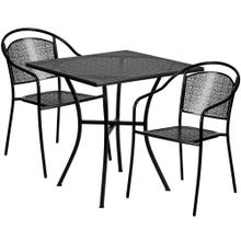 28'' Square Black Indoor-Outdoor Steel Patio Table Set with 2 Round Back Chairs