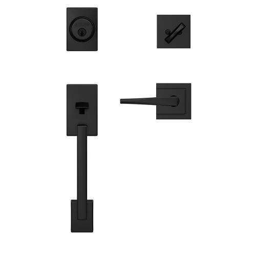 Custom Century Single Cylinder Handleset and Interior Eller Lever with Upland Trim - Matte Black