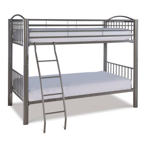 Heavy Metal Pewter Twin Over Twin Bunk Bed