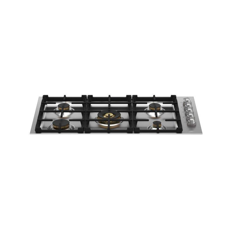 36 Drop-in Gas Cooktop 5 brass burners Stainless Steel
