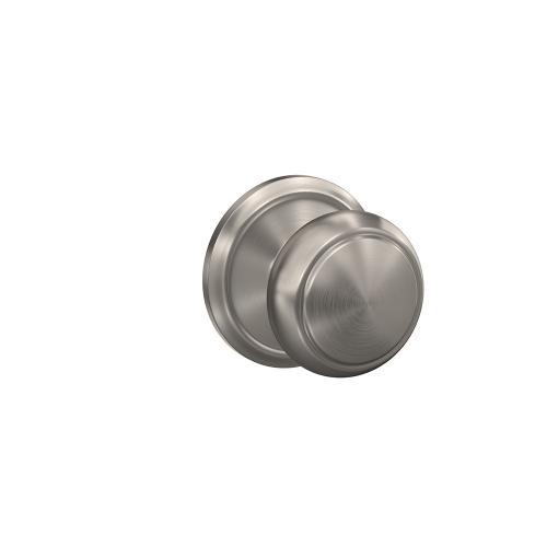 Custom Andover Knob with Alden Trim Hall-Closet and Bed-Bath Lock - Satin Nickel