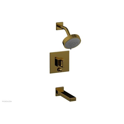 MIX Pressure Balance Tub and Shower Set - Ring Handle 290-28 - French Brass