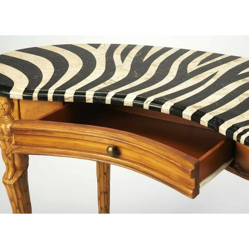 Butler Specialty Company - Selected solids, veneers and resin components. Zebra skin design fossil stone veneer top. Working drawer.