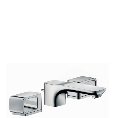 Polished Gold Optic 3-hole basin mixer 50 with escutcheons and pop-up waste set