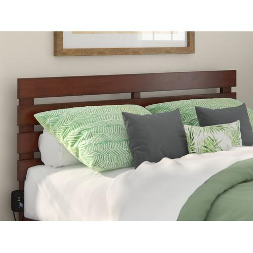 Atlantic Furniture - Oxford Queen Headboard with USB Turbo Charger in Walnut