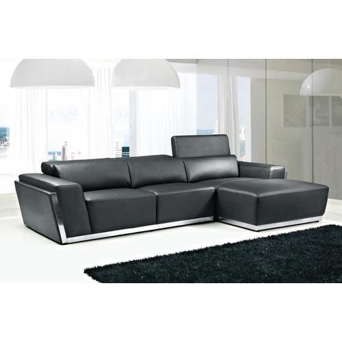 VIG Furniture - Divani Casa 8010C - Modern Black Bonded Leather Right Facing Sectional Sofa