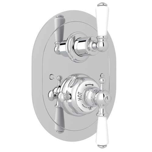 Polished Chrome Perrin & Rowe Edwardian Era Oval Thermostatic Trim Plate With Volume Control with Edwardian Metal Lever
