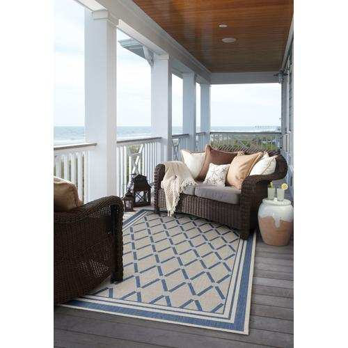 Finesse-Lattice Capri Blue Machine Woven Rugs