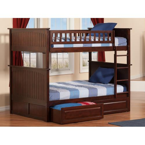 Nantucket Bunk Bed Full over Full with Raised Panel Bed Drawers in Walnut