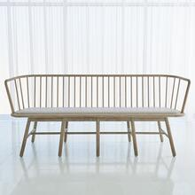 See Details - Spindle Long Bench-Grey Leather