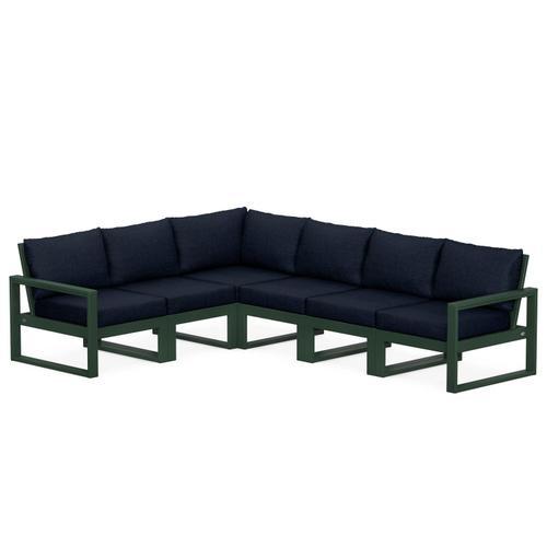 Polywood Furnishings - EDGE 6-Piece Modular Deep Seating Set in Green / Marine Indigo
