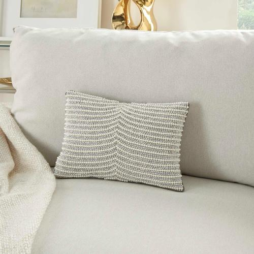 """Luminescence Z2003 Ivory/silver 10"""" X 14"""" Throw Pillow"""