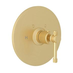 Campo Thermostatic Trim Plate without Volume Control - Satin Unlacquered Brass with Industrial Metal Lever Handle
