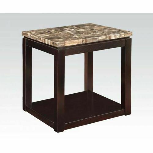 Acme Furniture Inc - ACME Dusty End Table - 82128 - Faux Marble & Espresso