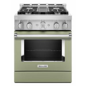 KitchenAid® 30'' Smart Commercial-Style Gas Range with 4 Burners - Avocado Cream Product Image
