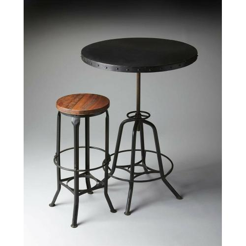 Butler Specialty Company - This industrial-look hall table rotates and adjusts to the desired height. Its all-iron construction with a distressed black finish is a distinctive touch in a variety of spaces, and its height-adjustable base provides ultimate function making it equally suitable for use as a pub table.